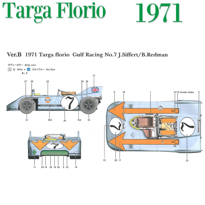 908/3 1971 Ver.B Targa Florio Gulf Racing No.7【MFH 1/43 k575】