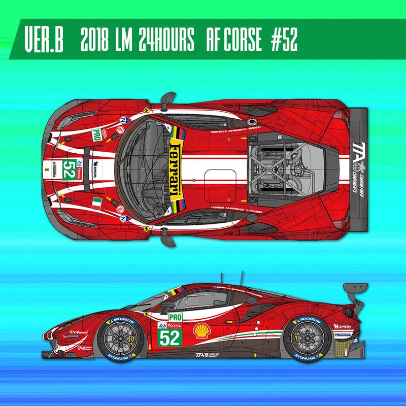 フェラーリ488 GTE 2018 #52【MFH 1/24 K682 Ver.B】