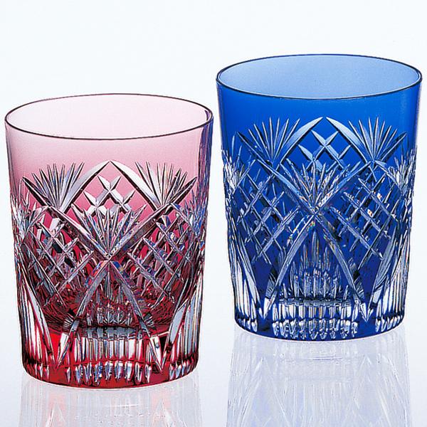 カガミクリスタル 江戸切子 ペアロックグラス#2652(木箱入り)口径76×高さ90mm1202-025_HB