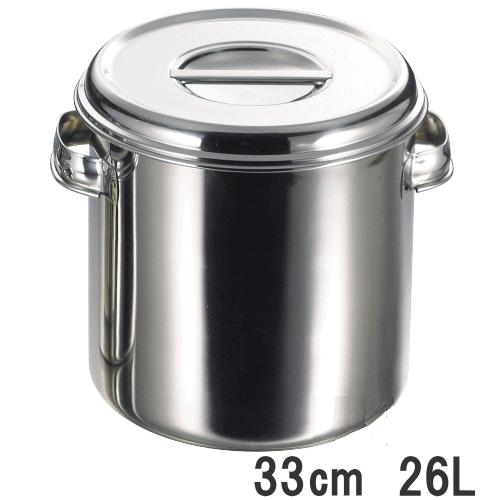 18-8ステンレス 深型キッチンポット 33cm 26L(手付)内径330×高さ330mm【業務用】11033_AG