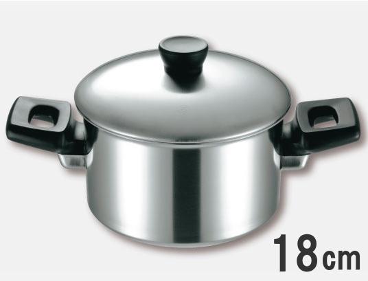 ≪IH・ガス火対応≫仔犬印 エルム 3層鋼クラッド 両手鍋 18cmNo.65218 本間製作所【日本製】