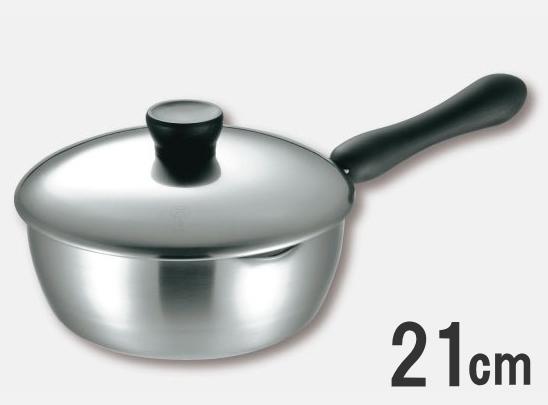 ≪IH・ガス火対応≫仔犬印 エルム 3層鋼クラッド ユキヒラパン 21cmNo.65121 本間製作所【日本製】
