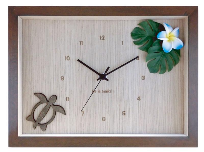 インテリア 壁掛け時計 ハンドメイド 天然木 DC1606 プルメリア ブルー ブラウン アジアン ハワイアン 時計の音が気にならないイープムーブメント プレゼント 贈り物 ラッピング承ります