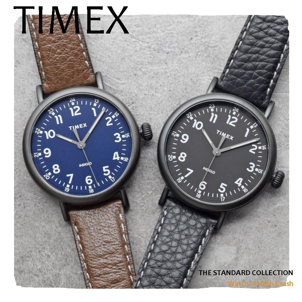 送料無料 ポストインでお届け TIMEX 腕時計 商舗 メンズ レディース ネイビー ブラウン TW2T908 ブラック ビジネス おしゃれ プレゼント シリーズ 文字盤が光るインディグロ搭載 スタンダード ギフト 奉呈 ファッション TW2T910 本革ベルト