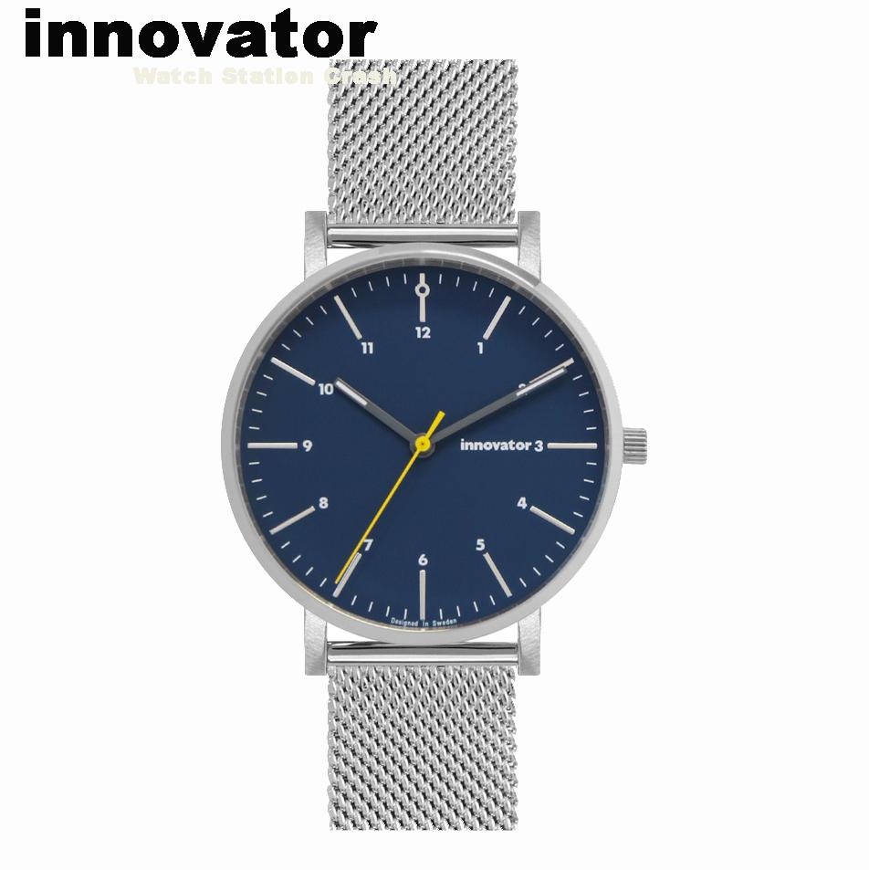 【北欧ブランド】イノベーター innovator エンケル ENKEL IN-0007-5 シルバー× ネイビーメッシュ 38mm 腕時計 メンズ レディース ビジネス カジュアル