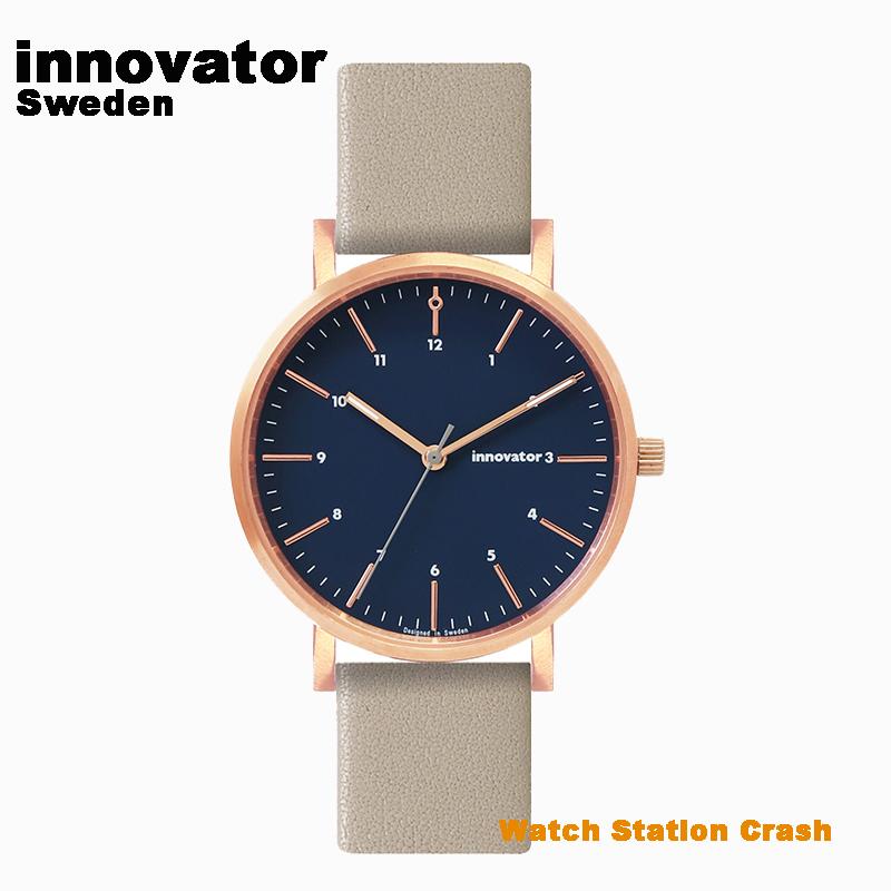 送料無料【北欧ブランド】イノベーター innovator エンケル ENKEL IN-0007-20 ローズゴールド × ネイビー グレー 本革ベルト 38mm 腕時計 メンズ レディース ビジネス カジュアル
