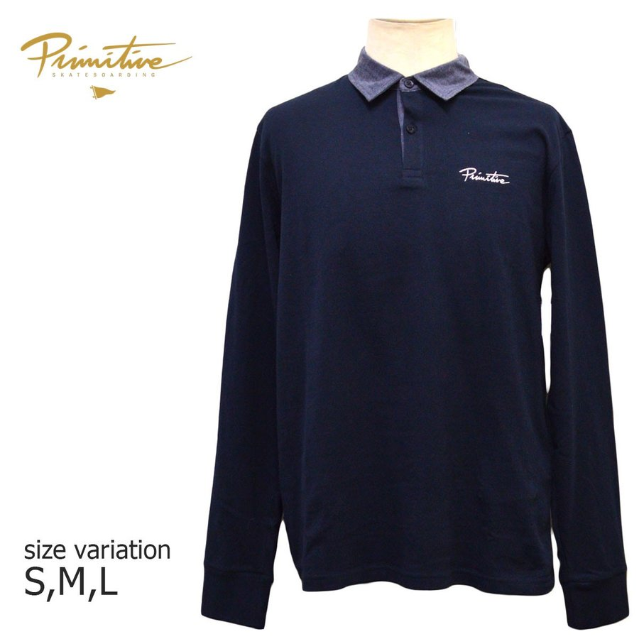 PRIMITIVE ラガーシャツ 長袖 プリミティブ スケート ボード お得 襟切替 SKATEBOARD ストリート メンズ スケボー 当店は最高な サービスを提供します MIDNIGHT ロングスリーブ 左胸スクリプト刺繍