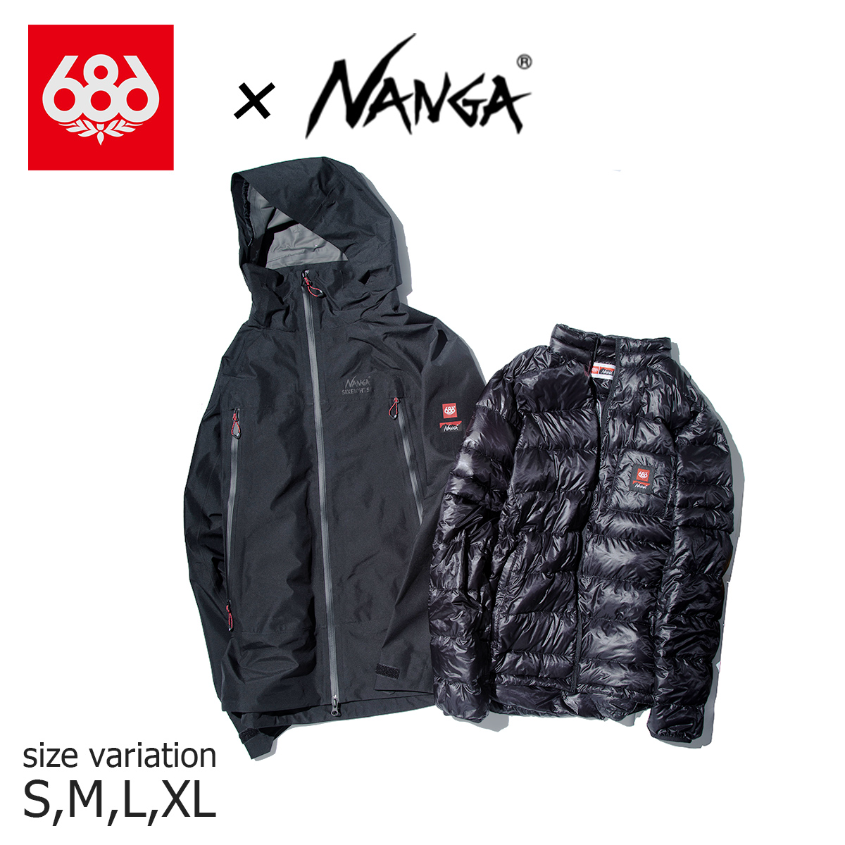 2in1で着用できる686とNANGAコラボレーションシェルジャケット 20-21 686 NANGA GRTX PACLITE SMARTY JACKET BLACK スノーボード ナンガ スノボー 期間限定特価品 スノーウェア ロクハチロク ジャケット wear シックスエイトシックス 安値