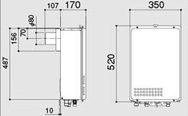 ノーリツ ガス給湯器 給湯専用 PS扉内後方排気延長形(PS標準後方排気延長形)16号 GQ-1637WE-TB