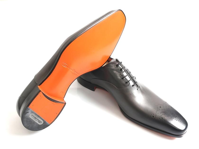 Santoni サントーニ MCBO 10039 BA7ILCNG41 イタリア製 革靴 内羽根 牛革 マッケイ式製法 レースアップ メダリオンシューズ ダークグレー UK5-01/UK6-02/UK8.5-03/UK9-04 ▲300▼90614a06