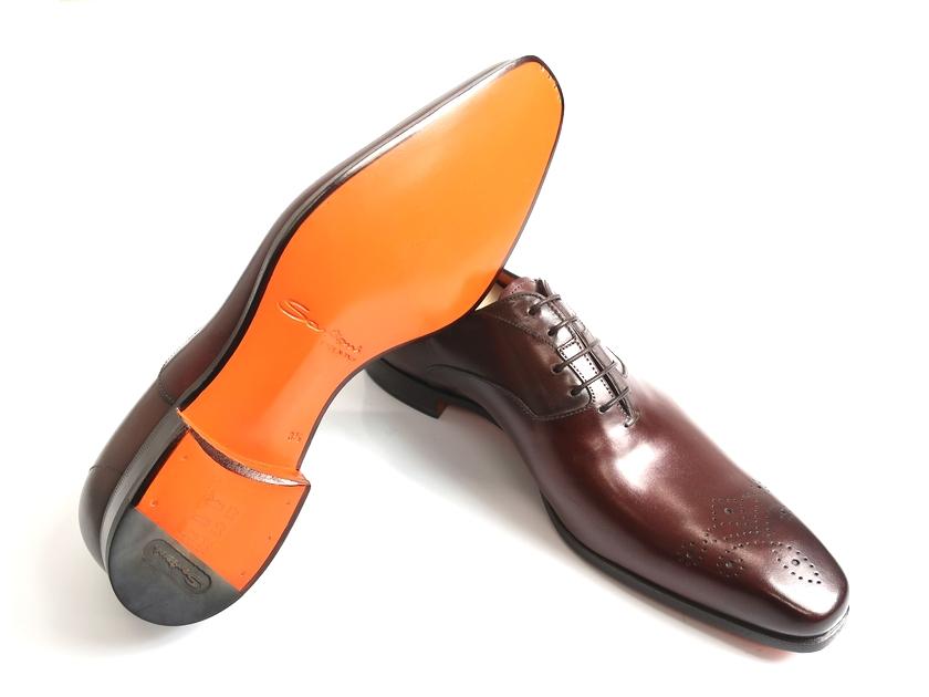 Santoni サントーニ MCBO 10039 BA7ILCNS38 イタリア製 革靴 内羽根 牛革 マッケイ式製法 レースアップ メダリオンシューズ ブラウン UK5-01/UK8.5-02/UK9-03 ▲300▼90614t01