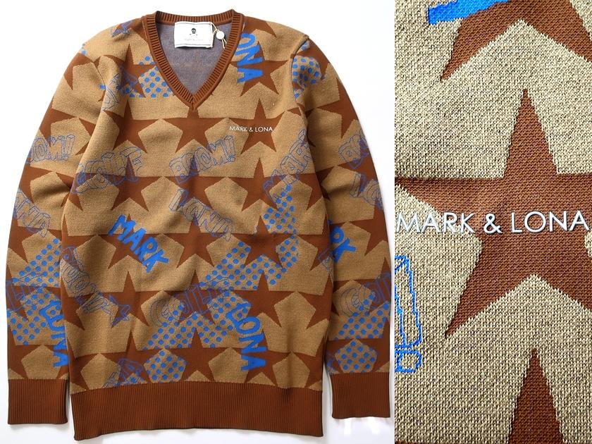 MARK&LONA マーク & ロナ 18AW Cosmic star v pullover プルオーバー ニット ベージュ 46-01/48-02 ▲150▼90409t05