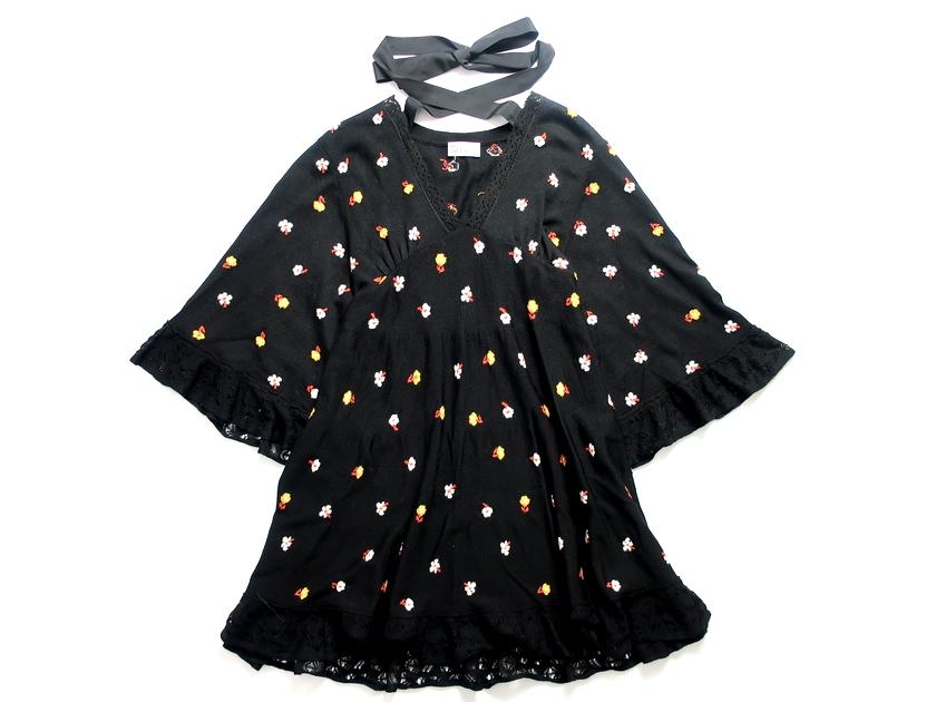 RED VALENTINO レッドヴァレンティノ イタリア製 SHORT V-NECK DRESS ショート Vネック ニット ドレス ワンピース 花柄 ブラック XS ▲080▼90430t05