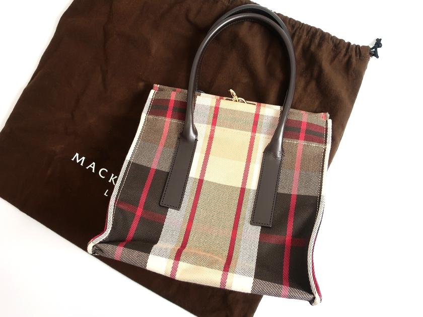 MACKINTOSH LONDON マッキントッシュ ロンドン 日本製 ハウスチェック トートバッグ スクエア ベージュ ▲120▼90507t05