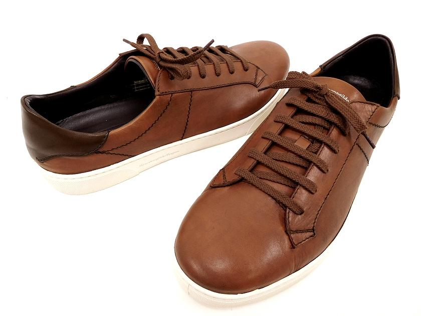 イタリア製 Ermenegildo Zegna エルメネジルド ゼニア A2887X Vittorio sneaker レザー スニーカー シューズ 靴 8(ブラウン)/ym20180802-2