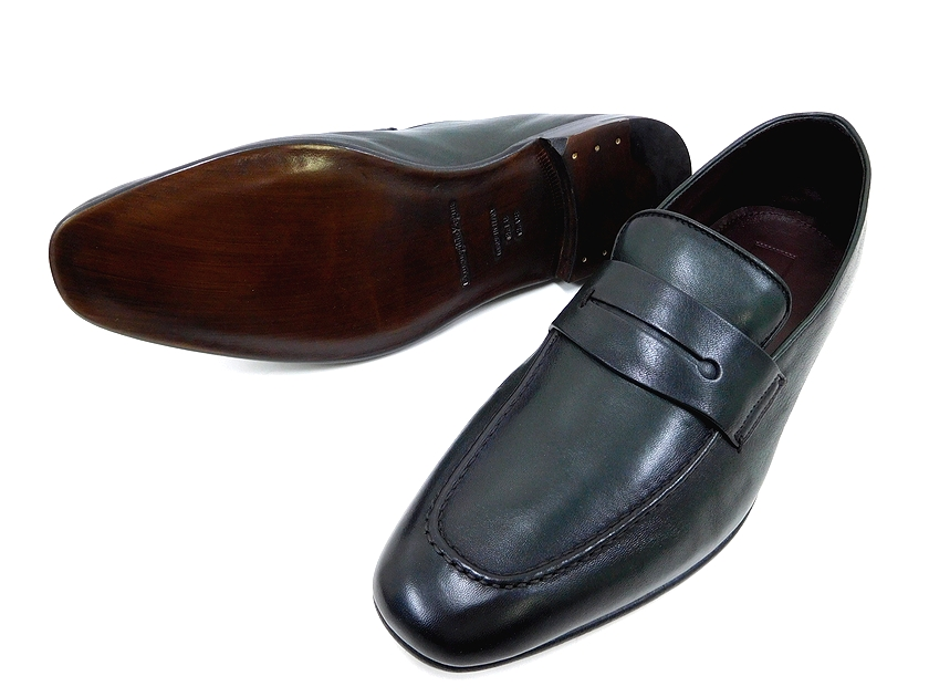 定価9.6万 イタリア製 Ermenegildo Zegna エルメネジルド ゼニア A2875X L'ASOLA ASOLA LOAFER レザー ローファー モカシン スリッポン シューズ 靴 8+(ダークグリーン) /ym180802-4