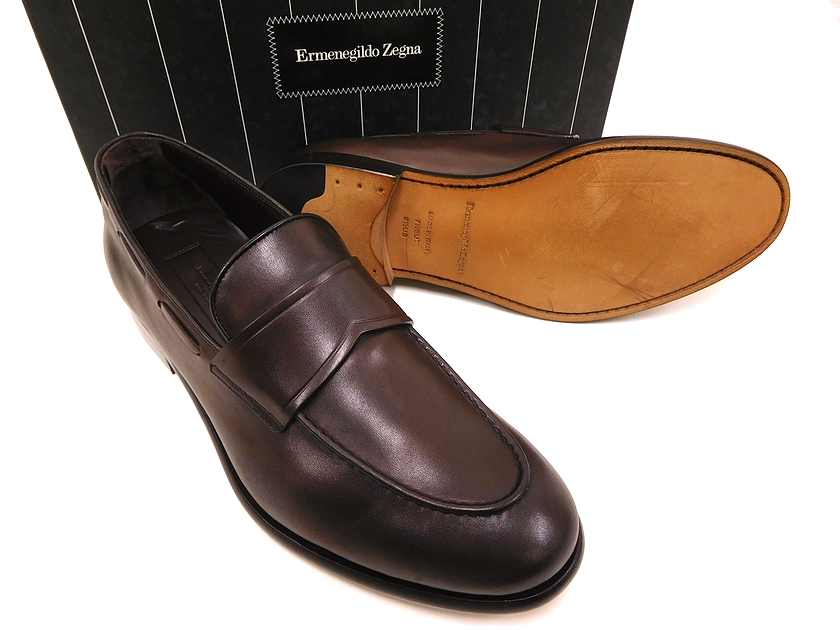 イタリア製 海外 定価10.4万 Ermenegildo Zegna エルメネジルド ゼニア A2614X LOAFER FASCETTA 9 モカシン ローファー スリッポン ブラウン シューズ 最安値挑戦 靴 ym180803-4
