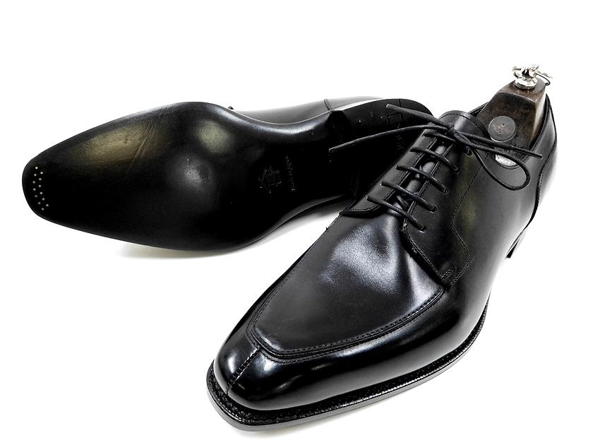 日本製 三陽山長 Sanyo Yamacho 乗之介 jonosuke 外羽根 Uチップ レザー シューズ ビジネスシューズ 靴 8.5(黒) /ym20180723-6