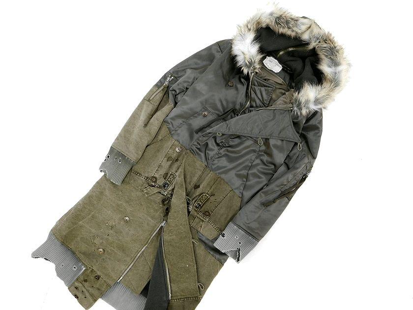定価42.1万 USA製 17FW GREG LAUREN グレッグローレン Pewter Nylon Army Tent Long Snorkel Flight Jacket ダメージ加工 中綿 ロング フライト ジャケット コート KHAKI / 1(ym190211-22)・2(ym190211-23)