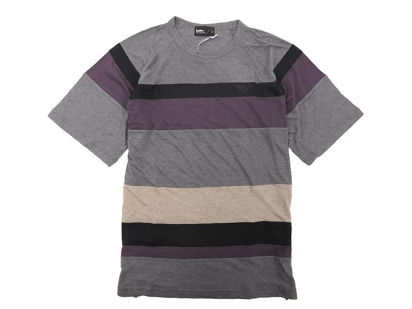 17SS kolor カラー コットンブレンド パネルデザイン ボーダー柄 クルーネック 半袖Tシャツ 3 グレー系 /ka20180521-15 /メンズ