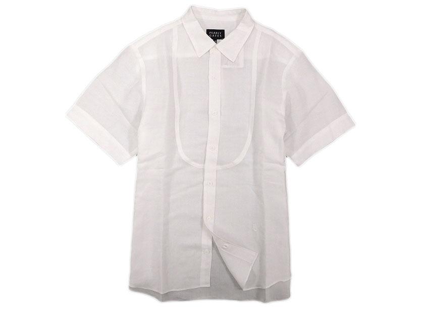 定価2.5万 日本製 PEARLY GATES パーリーゲイツ ゴルフ ロゴ刺繍 リネン 半袖シャツ ホワイト 5 /ka180803-18 /メンズ
