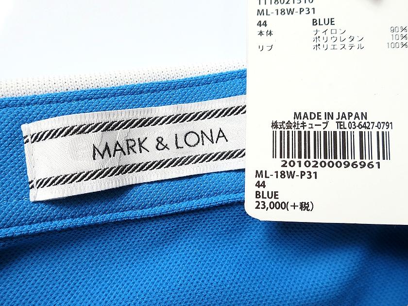 MARK&LONA マーク & ロナ 18AW  ポロシャツ 長袖 ゴルフ ブルー 44-01 48-02 ▲100▼90411a10