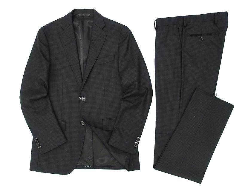 D'URBAN 新商品 ダーバン 送料無料カード決済可能 ZEAL シングルスーツ シャドーチェック柄 2B ウール100% ダークグレー ジャケット 100 パンツ Y7-02 90502a08 Y6-01