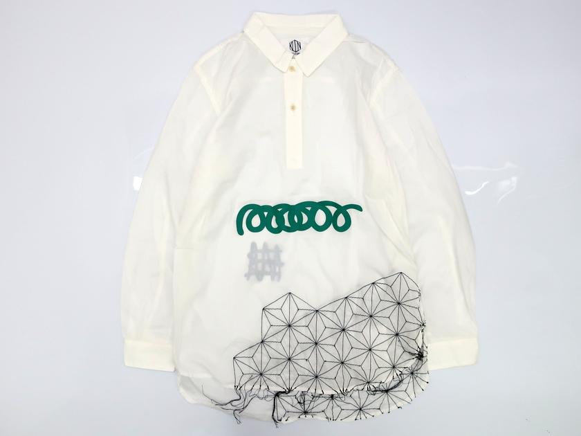 KUON クオン 一点物 シャツ 長袖 刺し子 麻の葉柄 ラバープリント ホワイト S▲050▼90508a08