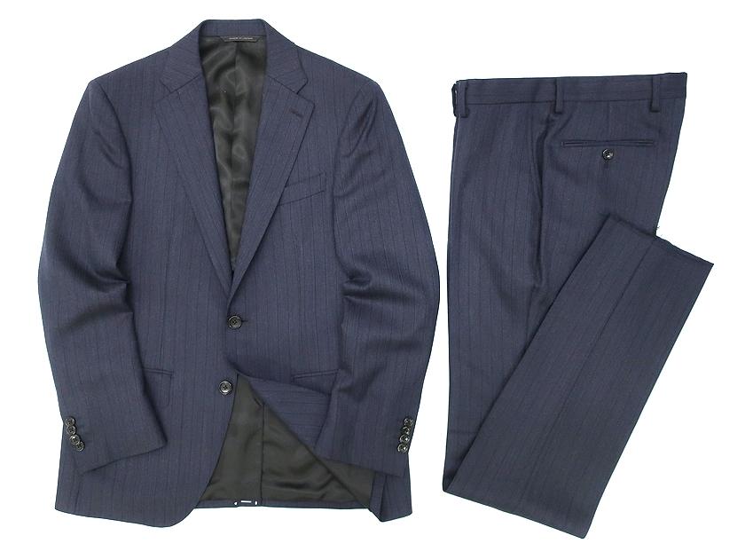 D'URBAN ダーバン r.a.s.o. ピンストライプ 2B シングルスーツ ジャケット パンツ  毛100% ネイビー A5▲100▼90524a05
