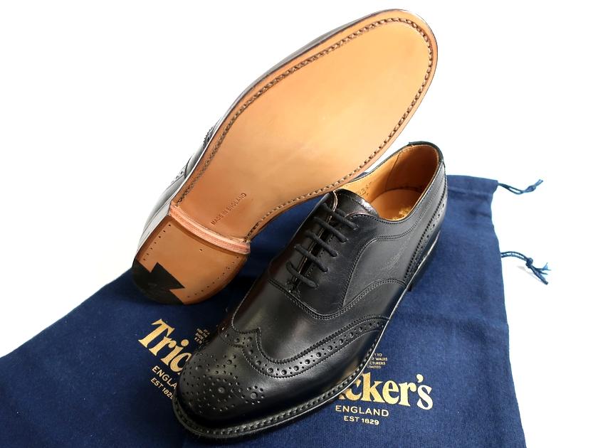 Tricker's MACKINTOSH LONDON EMMA トリッカーズ マッキントッシュ 英国製 定8.5万 ウィングチップ カントリー レザー シューズ 黒 4-01 5-01▲160▼90516k02