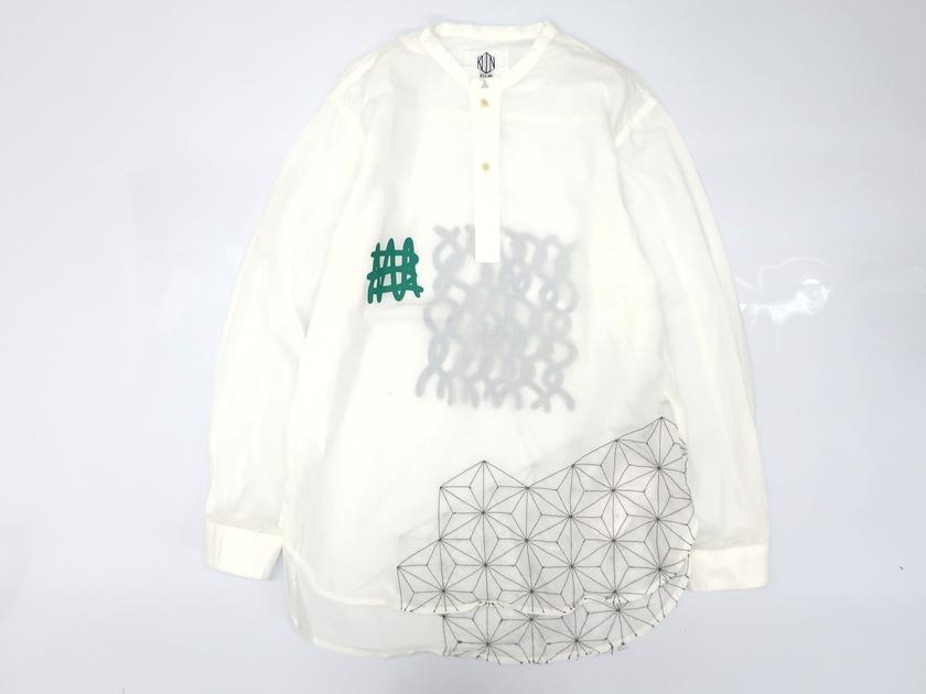 KUON クオン 一点物 刺し子 麻の葉柄 ラバープリント ハーフボタン スタンドカラー 長袖シャツ 定2.1万 日本製 白 S▲050▼90517k06