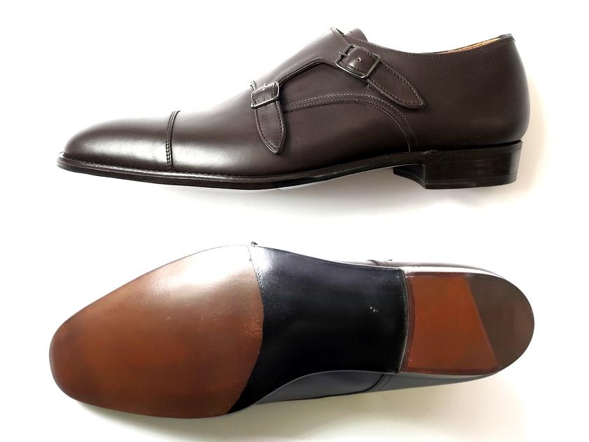 日本製 定価7.8万 大塚製靴 Otsuka SHOTEN 大塚商店 本革 グッドイヤーウェルト製法 ダブルモンク ストレートチップ レザーシューズ 靴 茶 9/ki190212_1w