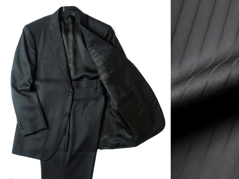 日本製 定価10.6万 D'URBAN r.a.s.o. ダーバン シルク混 同色ストライプ柄 総裏地 2B シングルスーツ ジャケット パンツ 黒 AB4/ki190305_1w