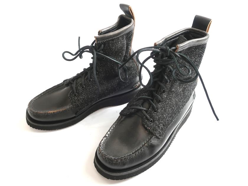 YUKETEN ユケテン Maine Guide Boots Harris Tweed ハリスツイード メインガイドブーツ vibram ビブラムソール レザー ウールツイード レースアップ モカシンブーツ アメリカ製 定6.4万 黒 8H-01 9-02 ▲100▼90628k02
