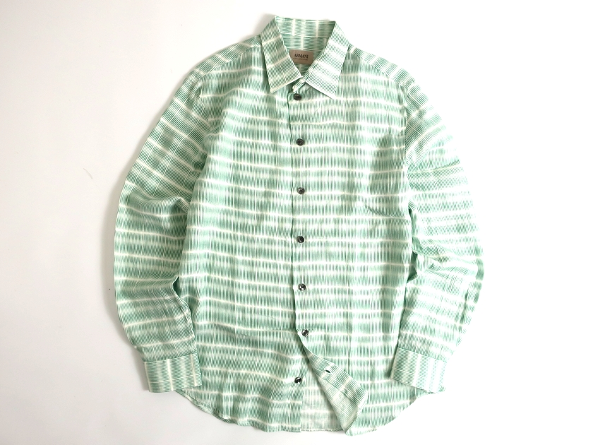 ARMANI COLLEZIONI アルマーニ 総柄 リネン100% 長袖シャツ 定5.2万 ホワイト グリーン M▲068▼91017k06