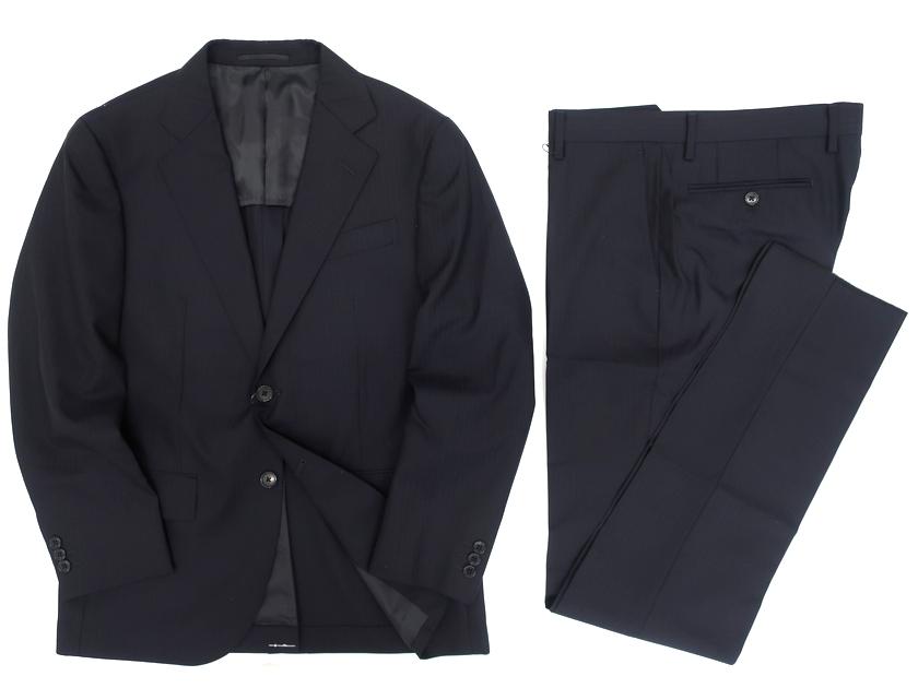 W.L.C by J.PRESS Jプレス ウール100% 同色 シャドーストライプ 2B シングルスーツ ジャケット パンツ ネイビー AB4▲150▼91105k11