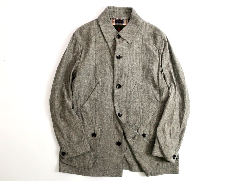 THE SCOTCH HOUSE スコッチハウス 日本製 日本製素材使用 麻綿絹 フィールドジャケット 定7.2万 グレー M-01 L-02 LL-03▲090▼91108k10