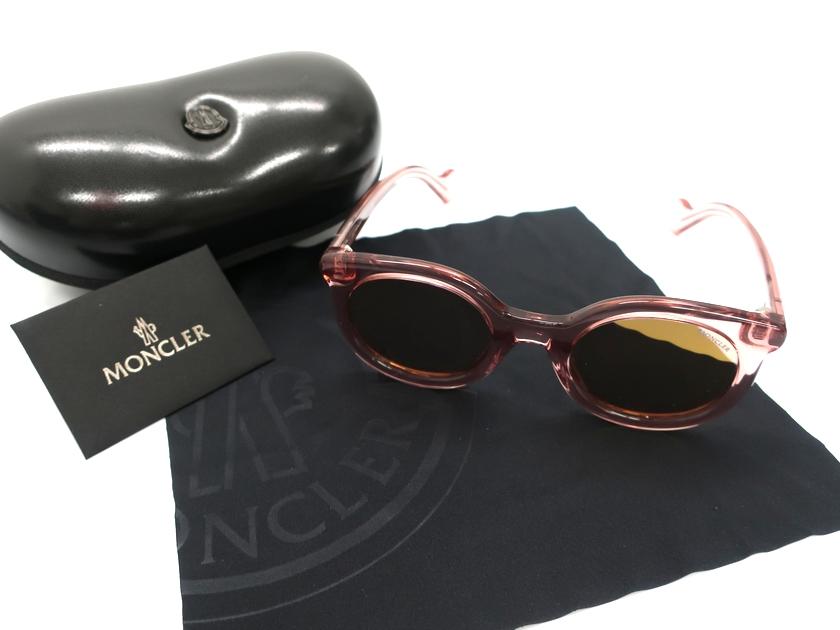 MONCLER モンクレール イタリア製 19AW ML0015 72U ラウンド ミラーボルドーレンズ サングラス メガネ 眼鏡 定3.8万 ピンク▲078▼91114k10