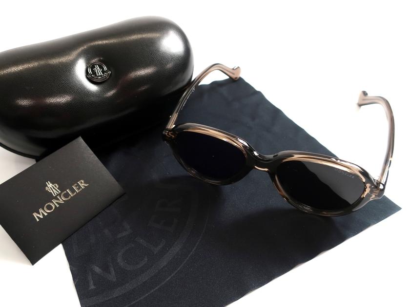 MONCLER モンクレール イタリア製 19AW ML0043 48A ティアドロップ スモークレンズ サングラス メガネ 眼鏡 定3.9万 ブラウン▲078▼91115k16