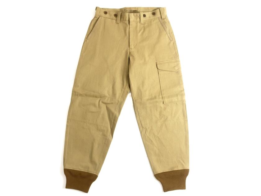 Nigel Cabourn ナイジェルケーボン 日本製 Tommy's Pants Vintage Twill 裾リブ ミリタリー コットンツイル パンツ 定3.4 ベージュカーキ 34▲050▼00121k05