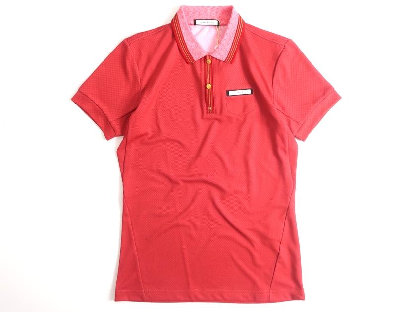 MARK & LONA マーク&ロナ 日本製 GLVR Polo ジャガード 金ボタン 半袖 ポロシャツ 定2万 レッド 44▲030▼00123k16