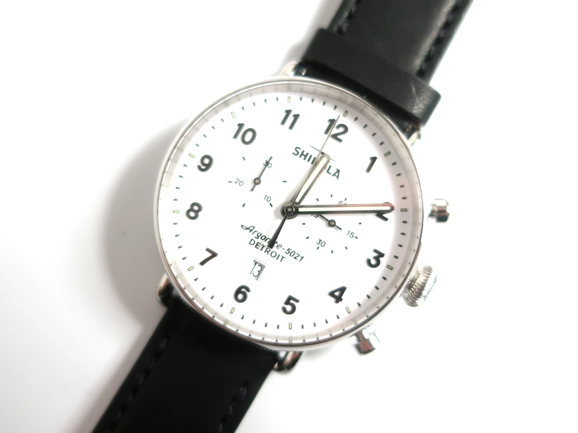 SHINOLA DETROIT シャイノラ デトロイト USA製 The Canfield Chrono Leather Strap Watch キャンフィールド 腕時計 レザーベルト 定13.9万 ホワイト▲250▼00214k11