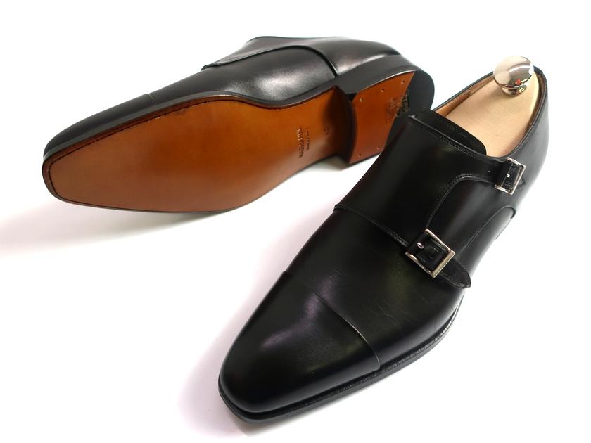 MAGNANNI マグナーニ 16300 マッケイ製法 ストレートチップ ダブルモンク 本革 レザー ビジネスシューズ 革靴 ブラック 40▲300▼00225k09