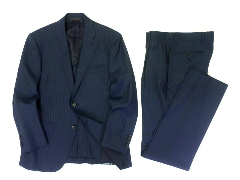 D'URBAN ダーバン 日本製 LoroPiana製生地使用 ピンストライプ シャドウストライプ ウール100% 2B シングルスーツ ジャケット パンツ スラックス 定14.3万 ネイビー A5▲300▼00311k05