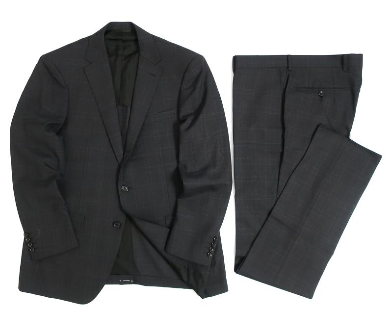 D'URBAN ダーバン ombrare 日本製 ウール100% チェック柄 2B シングルスーツ ジャケット パンツ スラックス 定8.3万 チャコールグレー AB6▲150▼00408k08