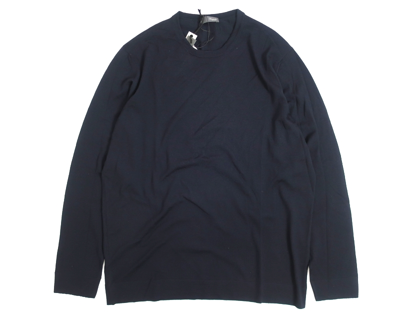 Drumohr ドルモア イタリア製 クルーネック ハイゲージ ニット セーター ネイビー 52▲060▼00505k08