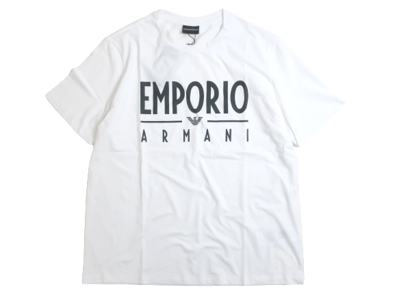 EMPORIO ARMANI エンポリオアルマーニ ロゴプリント 半袖 Tシャツ カットソー ホワイト XL▲065▼00904k07