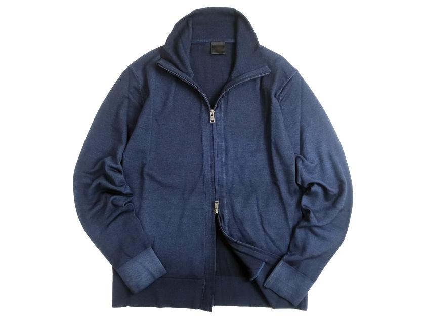 D'URBAN ダーバン 日本製 ウール100% 製品染め ダブルジップ ハイゲージ ニットジャケット ブルゾン ネイビー M▲030▼10520k15