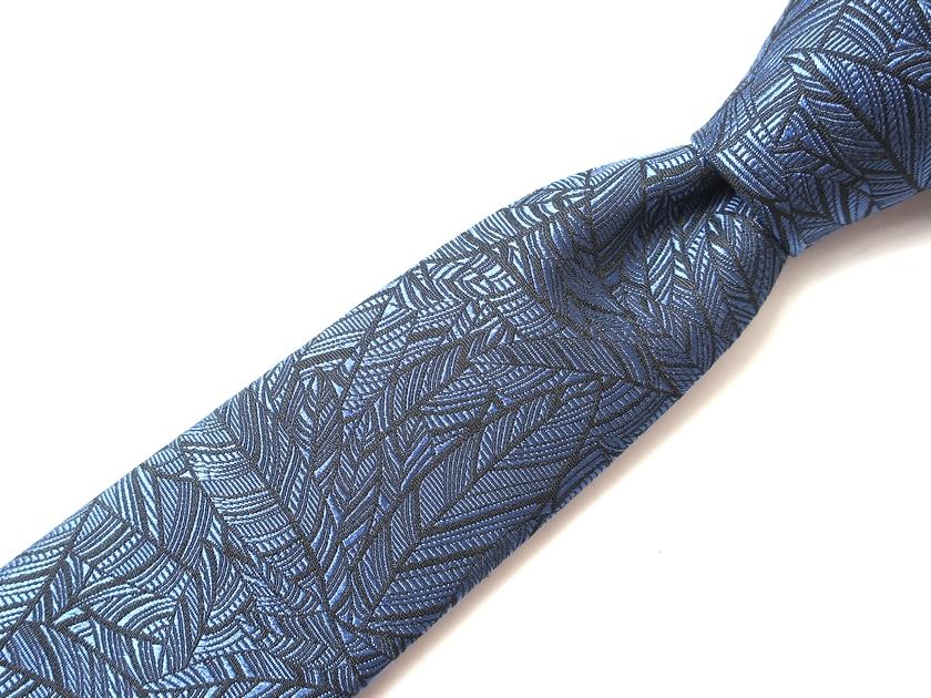 イタリア製 定価3.1万 Ermenegildo Zegna COUTURE エルメネジルドゼニア クチュール シルク100% 総柄 リーフ柄 ジャガードタイ ネクタイ 紺 / ki181220_15w