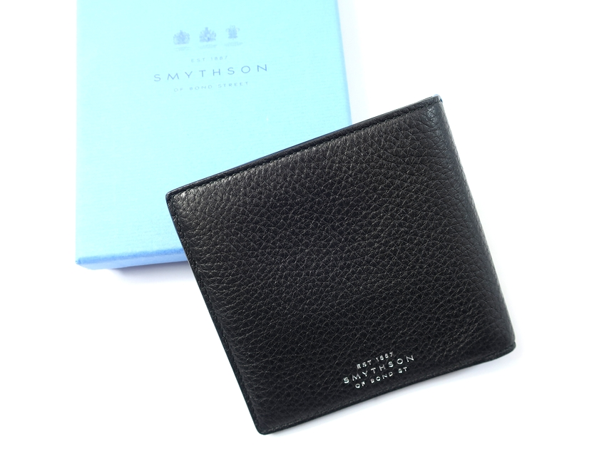 イタリア製 定価3.5万 SMYTHSON スマイソン BURLINGTON 本革 ディアスキン 二つ折り財布 ウォレット 黒 /ki190123_1w